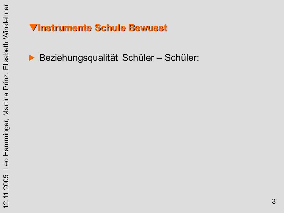 4 12.11.2005 Leo Hamminger, Martina Prinz, Elisabeth Winklehner Instrumente Schule Bewusst Instrumente Schule Bewusst Statistische Verfahren: Faktorenanalyse Korrelationen Cronbach Alpha