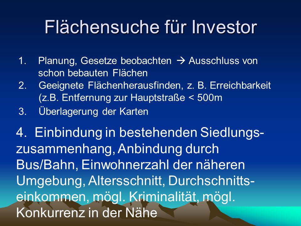 Flächensuche für Investor 1.Planung, Gesetze beobachten Ausschluss von schon bebauten Flächen 2.Geeignete Flächenherausfinden, z.
