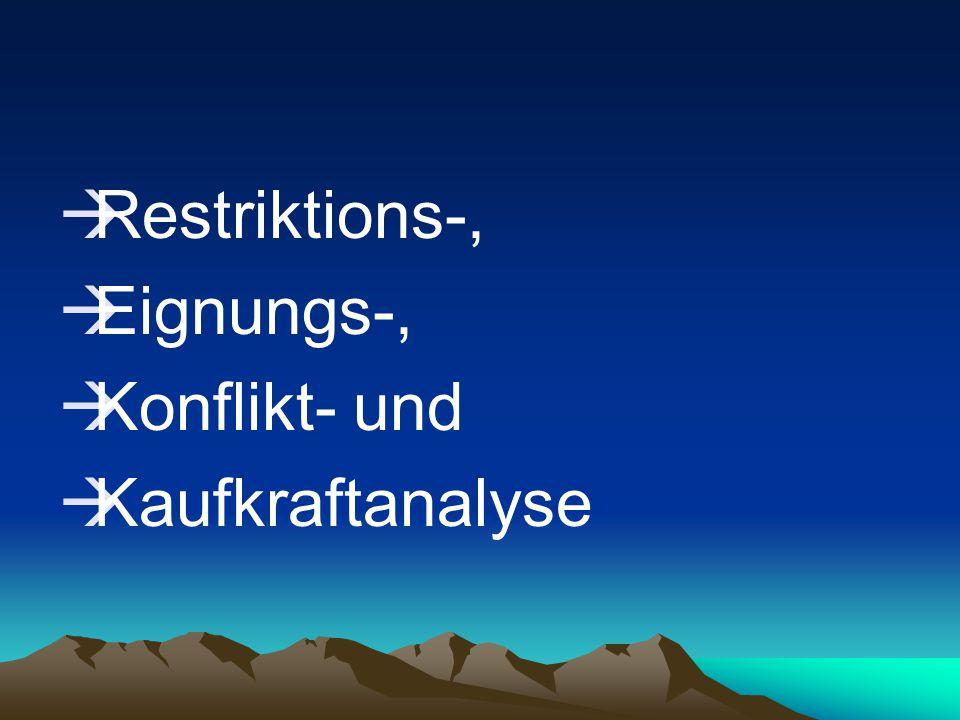 Restriktions-, Eignungs-, Konflikt- und Kaufkraftanalyse