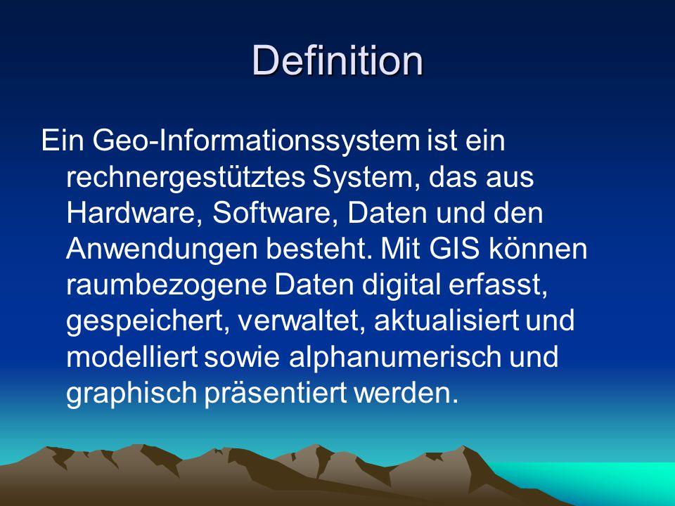 Definition Ein Geo-Informationssystem ist ein rechnergestütztes System, das aus Hardware, Software, Daten und den Anwendungen besteht.