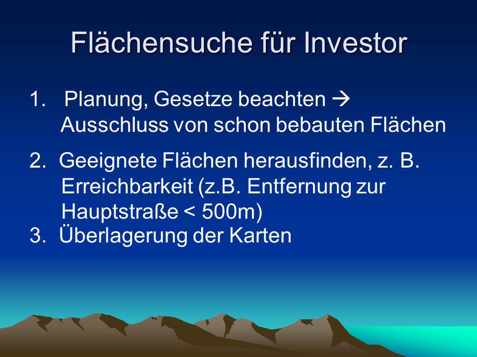 Flächensuche für Investor 1.Planung, Gesetze beachten Ausschluss von schon bebauten Flächen 2.