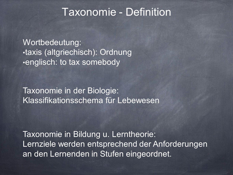 Taxonomie - Definition Wortbedeutung: taxis (altgriechisch): Ordnung englisch: to tax somebody Taxonomie in der Biologie: Klassifikationsschema für Lebewesen Taxonomie in Bildung u.