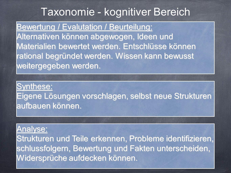 Taxonomie - kognitiver Bereich Analyse: Strukturen und Teile erkennen, Probleme identifizieren, schlussfolgern, Bewertung und Fakten unterscheiden, Widersprüche aufdecken können.