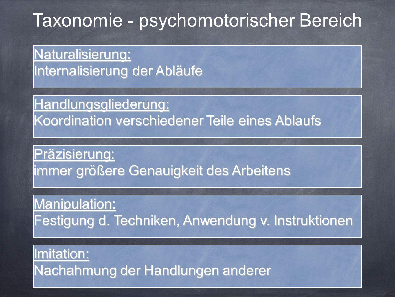 Taxonomie - psychomotorischer Bereich Imitation: Nachahmung der Handlungen anderer Manipulation: Festigung d. Techniken, Anwendung v. Instruktionen Pr