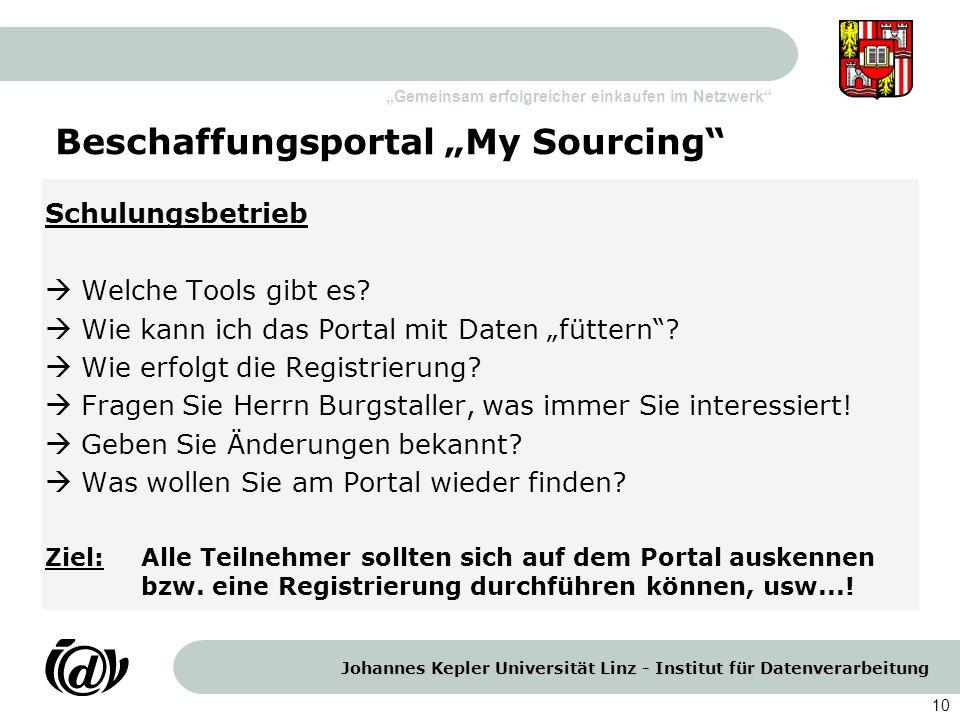 Johannes Kepler Universität Linz - Institut für Datenverarbeitung Gemeinsam erfolgreicher einkaufen im Netzwerk 10 Beschaffungsportal My Sourcing Schu