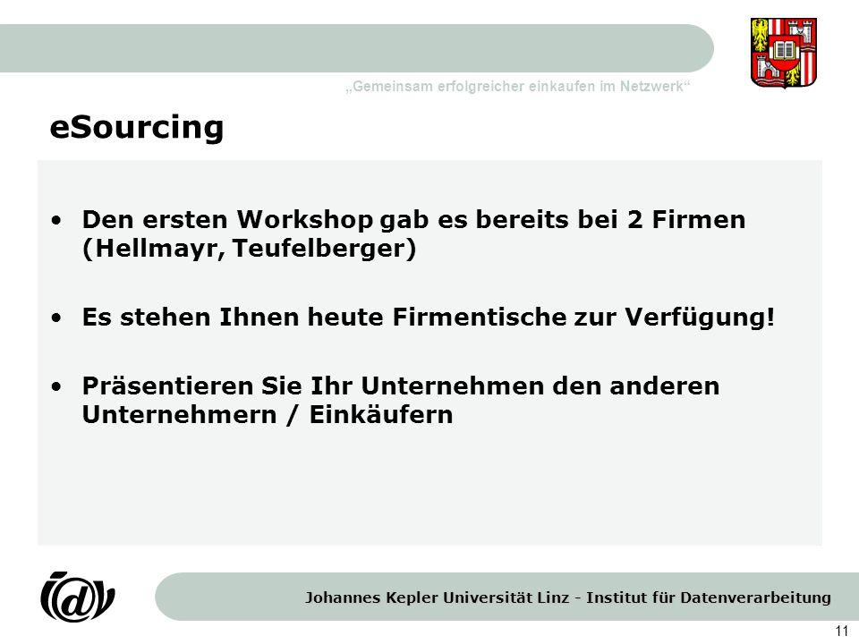 Johannes Kepler Universität Linz - Institut für Datenverarbeitung Gemeinsam erfolgreicher einkaufen im Netzwerk 11 eSourcing Den ersten Workshop gab e