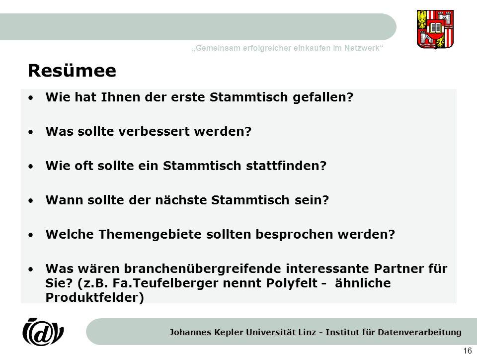 Johannes Kepler Universität Linz - Institut für Datenverarbeitung Gemeinsam erfolgreicher einkaufen im Netzwerk 16 Resümee Wie hat Ihnen der erste Sta