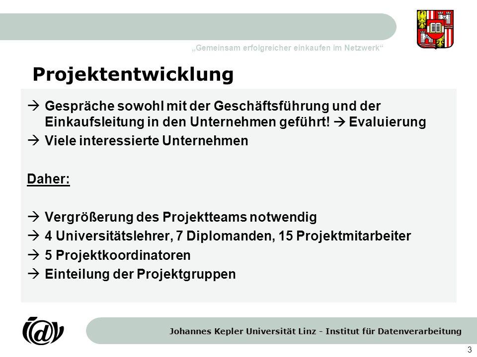 Johannes Kepler Universität Linz - Institut für Datenverarbeitung Gemeinsam erfolgreicher einkaufen im Netzwerk 3 Projektentwicklung Gespräche sowohl