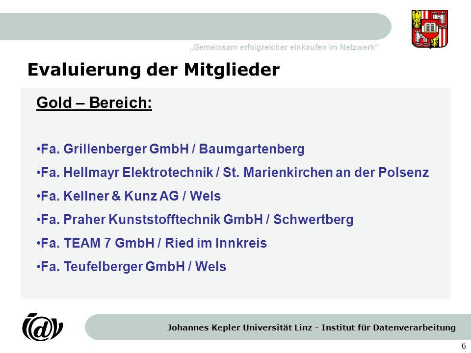 Johannes Kepler Universität Linz - Institut für Datenverarbeitung Gemeinsam erfolgreicher einkaufen im Netzwerk 6 Evaluierung der Mitglieder Gold – Be