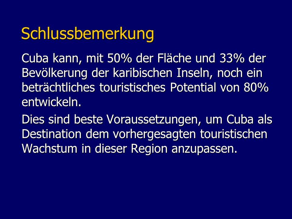 Schlussbemerkung Schlussbemerkung Cuba kann, mit 50% der Fläche und 33% der Bevölkerung der karibischen Inseln, noch ein beträchtliches touristisches Potential von 80% entwickeln.
