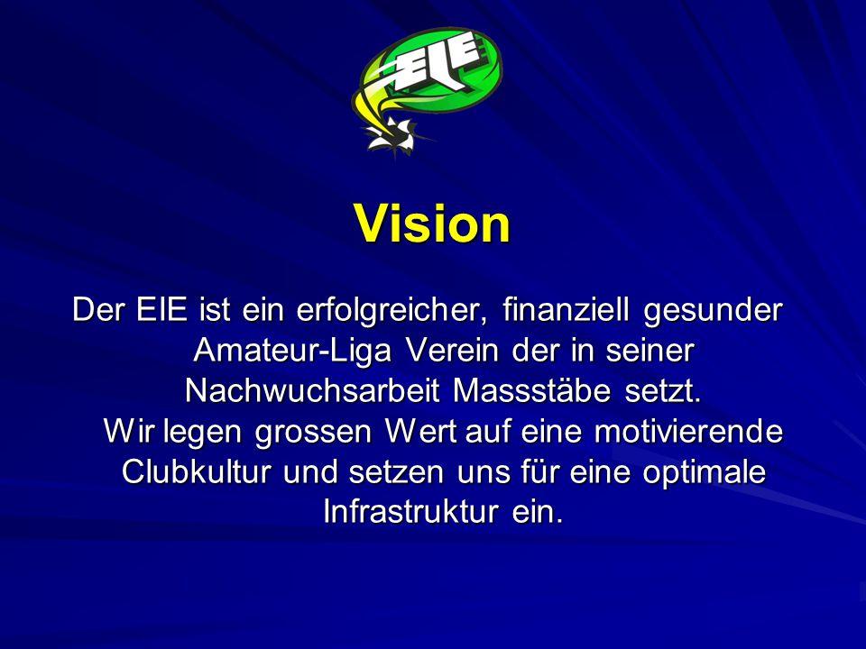 Vision Der EIE ist ein erfolgreicher, finanziell gesunder Amateur-Liga Verein der in seiner Nachwuchsarbeit Massstäbe setzt.