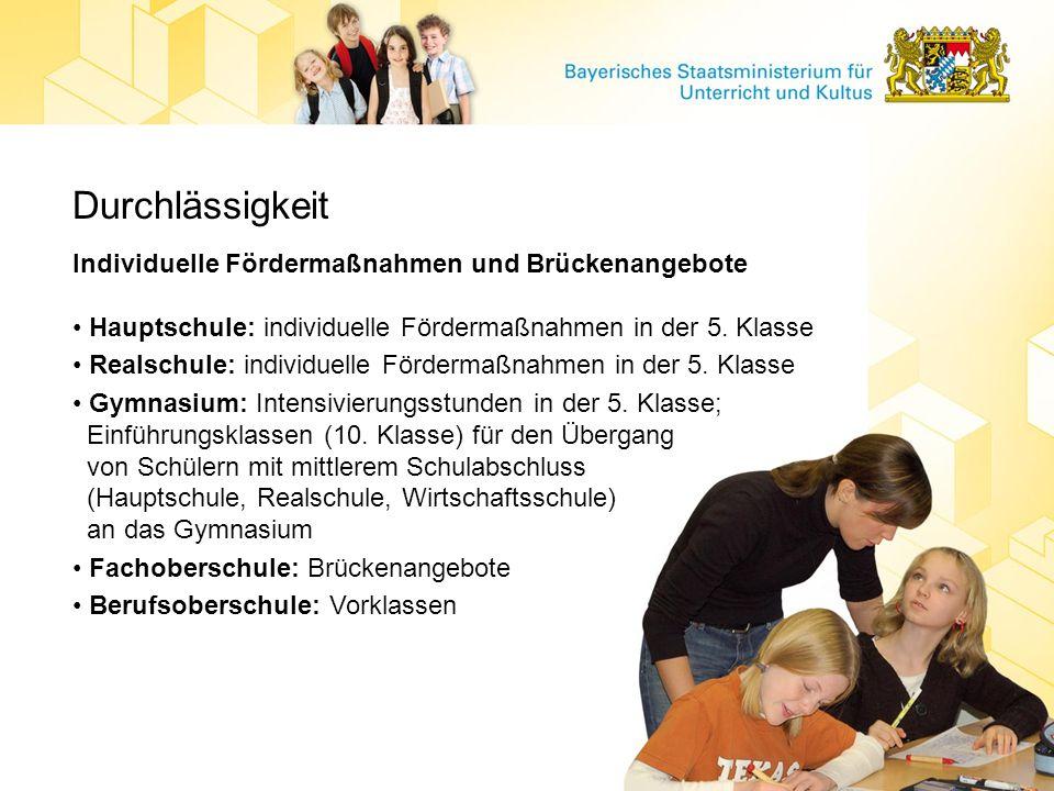 Durchlässigkeit Individuelle Fördermaßnahmen und Brückenangebote Hauptschule: individuelle Fördermaßnahmen in der 5. Klasse Realschule: individuelle F
