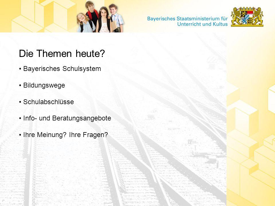Die Themen heute? Bayerisches Schulsystem Bildungswege Schulabschlüsse Info- und Beratungsangebote Ihre Meinung? Ihre Fragen?