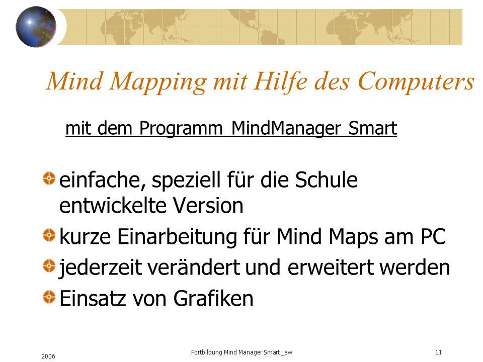 2006 Fortbildung Mind Manager Smart _sw11 Mind Mapping mit Hilfe des Computers mit dem Programm MindManager Smart einfache, speziell für die Schule entwickelte Version kurze Einarbeitung für Mind Maps am PC jederzeit verändert und erweitert werden Einsatz von Grafiken