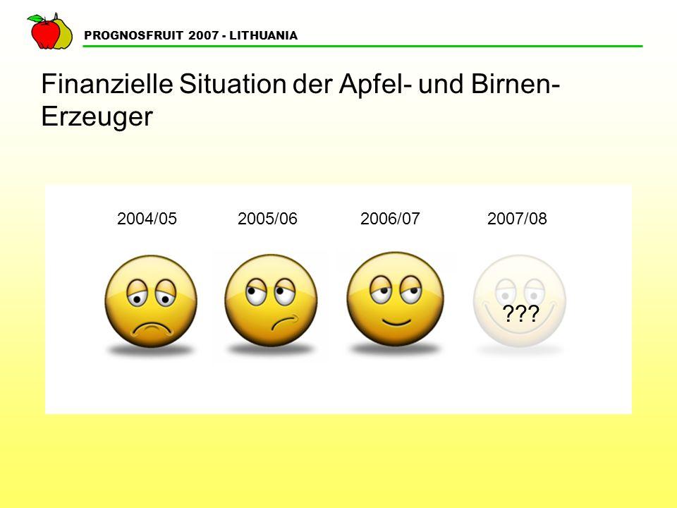PROGNOSFRUIT 2007 - LITHUANIA Finanzielle Situation der Apfel- und Birnen- Erzeuger ??? 2004/05 2005/062006/072007/08