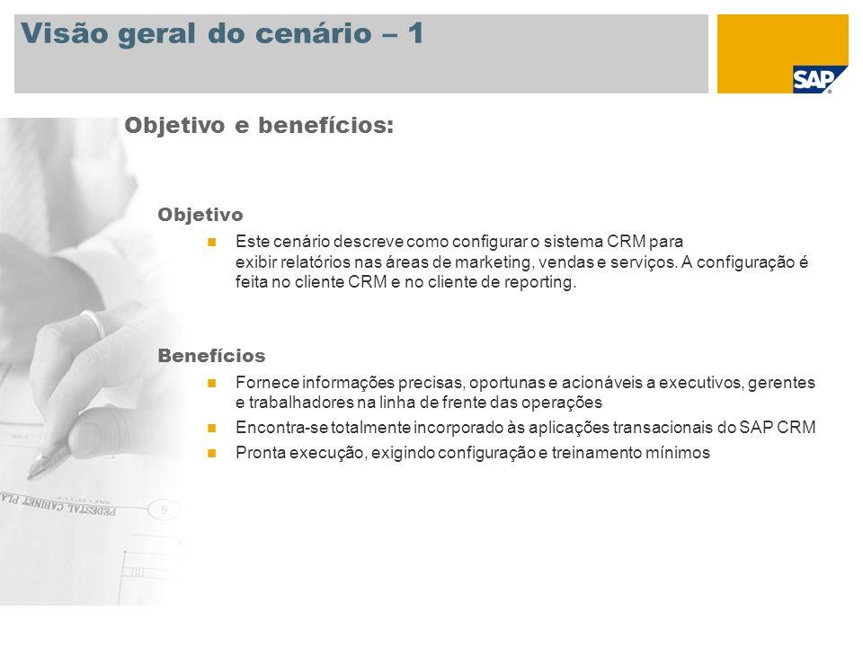 Visão geral do cenário – 1 Objetivo Este cenário descreve como configurar o sistema CRM para exibir relatórios nas áreas de marketing, vendas e serviços.