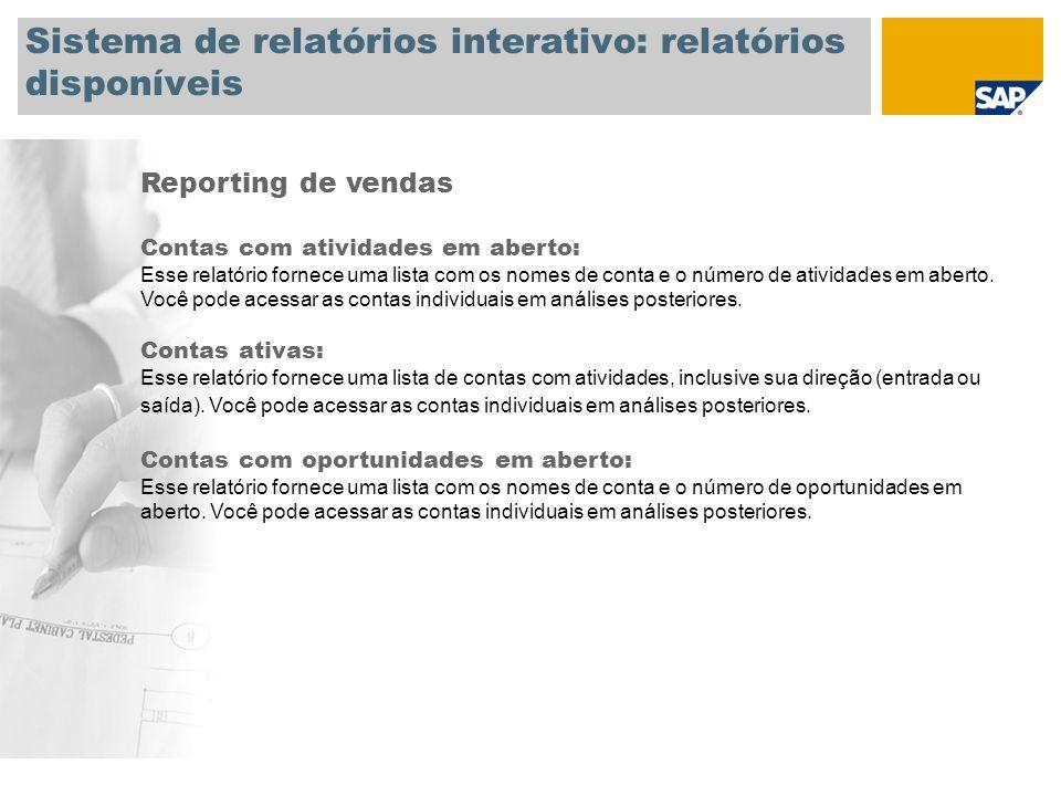 Sistema de relatórios interativo: relatórios disponíveis Reporting de vendas Contas com atividades em aberto: Esse relatório fornece uma lista com os nomes de conta e o número de atividades em aberto.