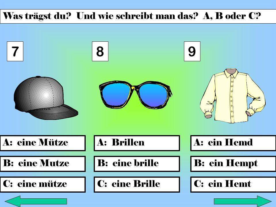 B: sockenB: ein T-shirt C: ein T-Shirt A: SockenA: einen anzugA: eine T-Shirt C: Socke B: eine anzug C: einen Anzug 456 Was trägst du.