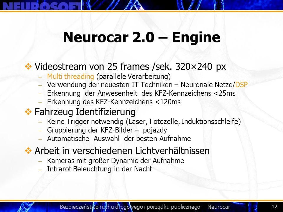 Bezpieczeństwo ruchu drogowego i porządku publicznego – Neurocar 12 Neurocar 2.0 – Engine Videostream von 25 frames /sek. 320×240 px – Multi threading