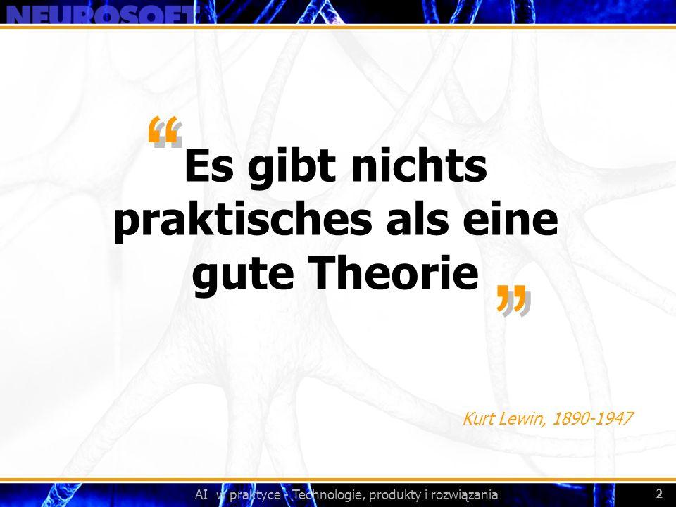 AI w praktyce - Technologie, produkty i rozwiązania 2 Es gibt nichts praktisches als eine gute Theorie Kurt Lewin, 1890-1947