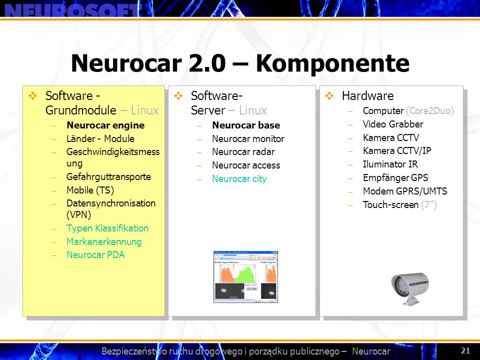 Bezpieczeństwo ruchu drogowego i porządku publicznego – Neurocar 21 Neurocar 2.0 – Komponente Software - Grundmodule – Linux – Neurocar engine – Länder - Module – Geschwindigkeitsmess ung – Gefahrguttransporte – Mobile (TS) – Datensynchronisation (VPN) – Typen Klassifikation – Markenerkennung – Neurocar PDA Software - Grundmodule – Linux – Neurocar engine – Länder - Module – Geschwindigkeitsmess ung – Gefahrguttransporte – Mobile (TS) – Datensynchronisation (VPN) – Typen Klassifikation – Markenerkennung – Neurocar PDA Software- Server – Linux – Neurocar base – Neurocar monitor – Neurocar radar – Neurocar access – Neurocar city Software- Server – Linux – Neurocar base – Neurocar monitor – Neurocar radar – Neurocar access – Neurocar city Hardware – Computer (Core2Duo) – Video Grabber – Kamera CCTV – Kamera CCTV/IP – Iluminator IR – Empfänger GPS – Modem GPRS/UMTS – Touch-screen (7) Hardware – Computer (Core2Duo) – Video Grabber – Kamera CCTV – Kamera CCTV/IP – Iluminator IR – Empfänger GPS – Modem GPRS/UMTS – Touch-screen (7)