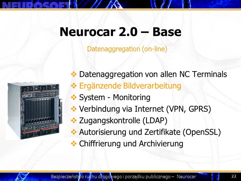 Bezpieczeństwo ruchu drogowego i porządku publicznego – Neurocar 22 Neurocar 2.0 – Base Datenaggregation von allen NC Terminals Ergänzende Bildverarbe