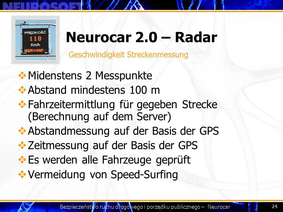 Bezpieczeństwo ruchu drogowego i porządku publicznego – Neurocar 24 Neurocar 2.0 – Radar Midenstens 2 Messpunkte Abstand mindestens 100 m Fahrzeitermi