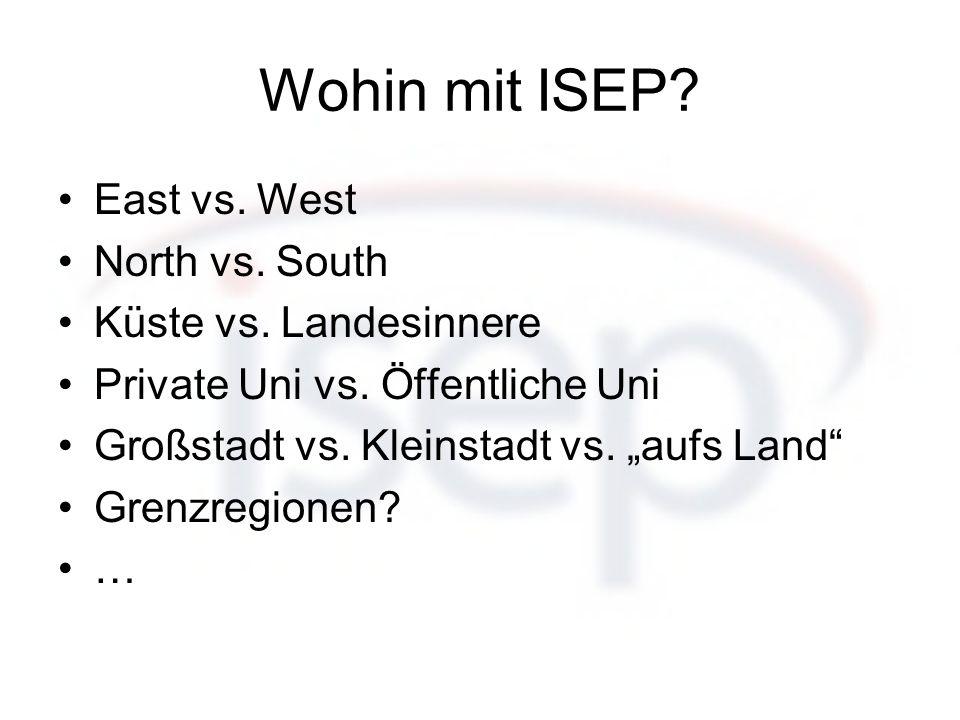East vs. West North vs. South Küste vs. Landesinnere Private Uni vs. Öffentliche Uni Großstadt vs. Kleinstadt vs. aufs Land Grenzregionen? …