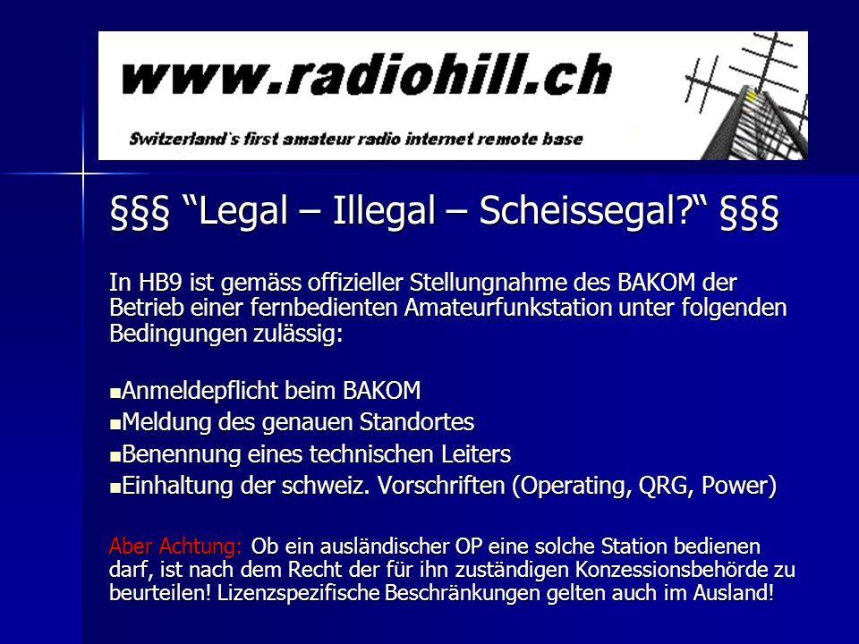 §§§ Legal – Illegal – Scheissegal? §§§ In HB9 ist gemäss offizieller Stellungnahme des BAKOM der Betrieb einer fernbedienten Amateurfunkstation unter