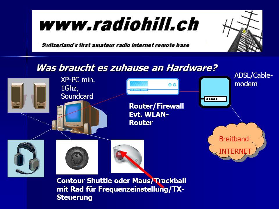 Was braucht es zuhause an Hardware? Contour Shuttle oder Maus/Trackball mit Rad für Frequenzeinstellung/TX- Steuerung Router/Firewall Evt. WLAN- Route