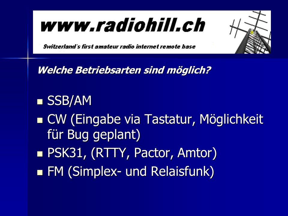 Welche Betriebsarten sind möglich? SSB/AM SSB/AM CW (Eingabe via Tastatur, Möglichkeit für Bug geplant) CW (Eingabe via Tastatur, Möglichkeit für Bug