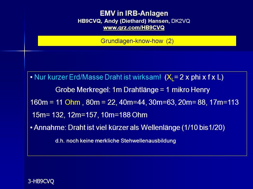 EMV in IRB-Anlagen HB9CVQ, Andy (Diethard) Hansen, www.qrz.com/HB9CVQ EMV in IRB-Anlagen HB9CVQ, Andy (Diethard) Hansen, DK2VQ www.qrz.com/HB9CVQ www.