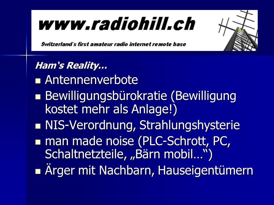 Hams Reality… Antennenverbote Antennenverbote Bewilligungsbürokratie (Bewilligung kostet mehr als Anlage!) Bewilligungsbürokratie (Bewilligung kostet