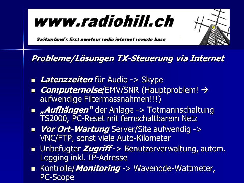 Anforderungen an eine Fernsteuer-Lösung via Internet: Integration Audio-Uebertragung und möglichst alle TRX- Features unterstützt, selber definierbare Befehle für Exoten Integration Audio-Uebertragung und möglichst alle TRX- Features unterstützt, selber definierbare Befehle für Exoten Steuerung Station+Peripherie über beliebige Distanz möglich Steuerung Station+Peripherie über beliebige Distanz möglich - Antennenrotor/Antennenumschaltung - Bandumschaltung PA - Stationsüberwachung Userverwaltung/Zugriffskontrolle Userverwaltung/Zugriffskontrolle 1 Server sollte mehrere Radios steuern können 1 Server sollte mehrere Radios steuern können OP sollte vom gleichen PC 2 Stationen benützen können OP sollte vom gleichen PC 2 Stationen benützen können kurze Latenzzeiten für Voice/Steuerung, Bandbreite <200kBit kurze Latenzzeiten für Voice/Steuerung, Bandbreite <200kBit