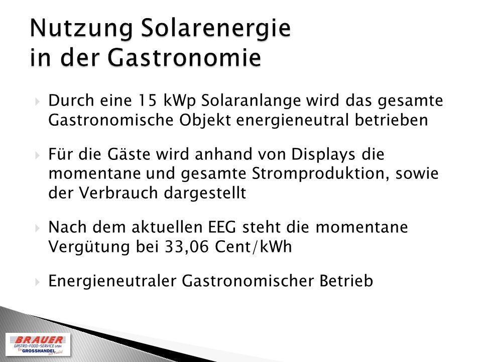 Durch eine 15 kWp Solaranlange wird das gesamte Gastronomische Objekt energieneutral betrieben Für die Gäste wird anhand von Displays die momentane und gesamte Stromproduktion, sowie der Verbrauch dargestellt Nach dem aktuellen EEG steht die momentane Vergütung bei 33,06 Cent/kWh Energieneutraler Gastronomischer Betrieb