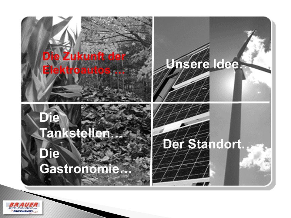 Unsere Idee… Die Zukunft der Elektroautos … Der Standort… Die Tankstellen… Die Gastronomie…