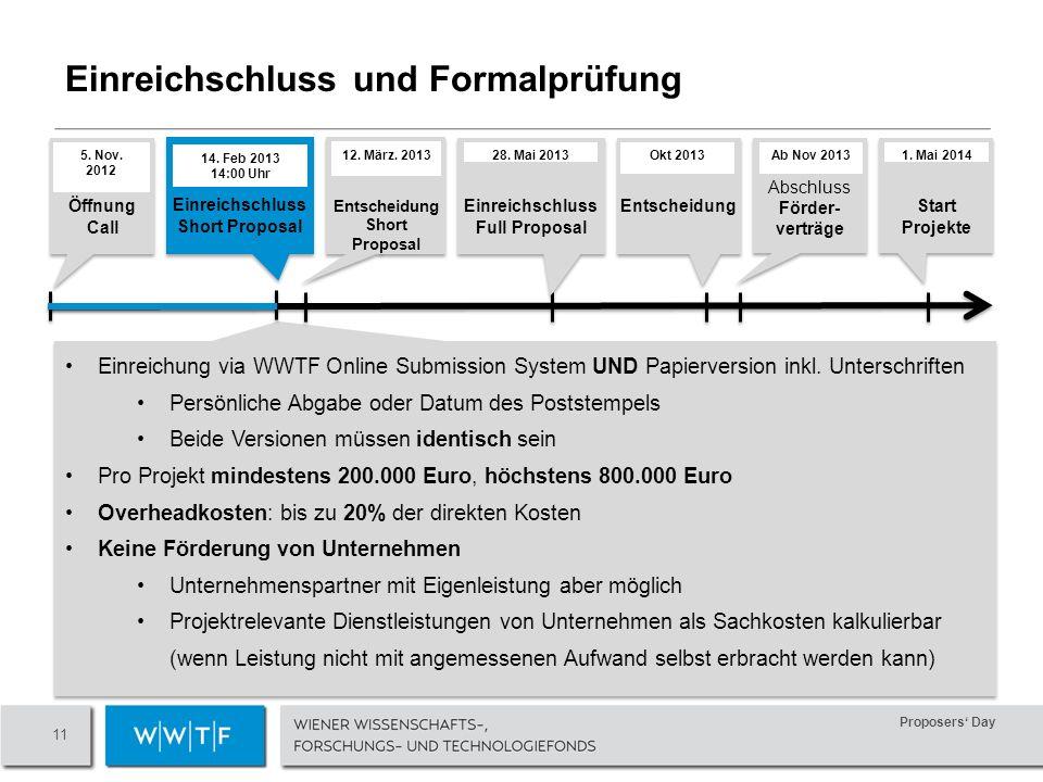 Proposers Day 11 Einreichschluss und Formalprüfung Einreichung via WWTF Online Submission System UND Papierversion inkl.