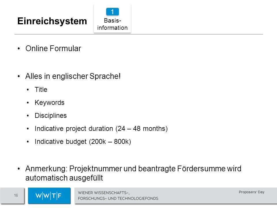 Proposers Day 16 Online Formular Alles in englischer Sprache.