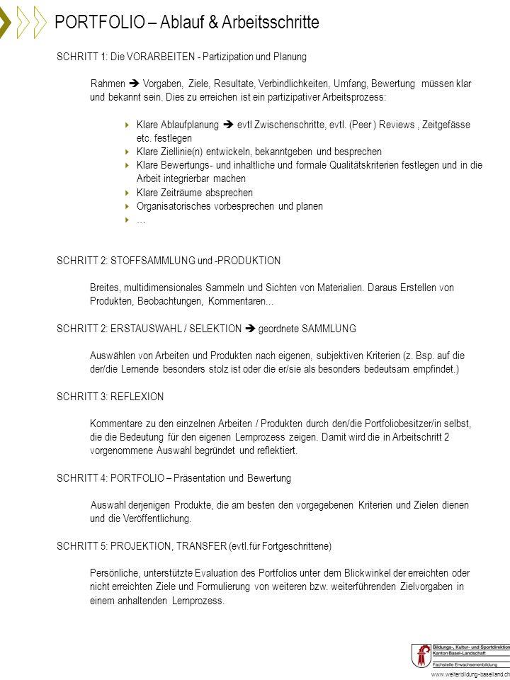 www.weiterbildung-baselland.ch SCHRITT 1: Die VORARBEITEN - Partizipation und Planung Rahmen Vorgaben, Ziele, Resultate, Verbindlichkeiten, Umfang, Be