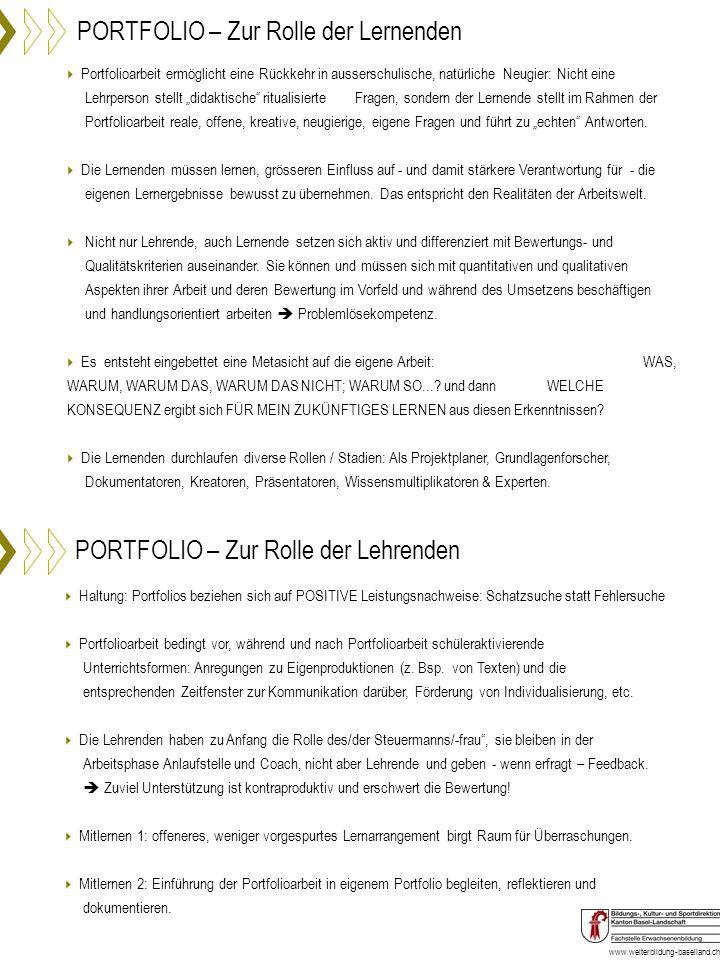 www.weiterbildung-baselland.ch PORTFOLIO – Zur Rolle der Lernenden PORTFOLIO – Zur Rolle der Lehrenden Haltung: Portfolios beziehen sich auf POSITIVE