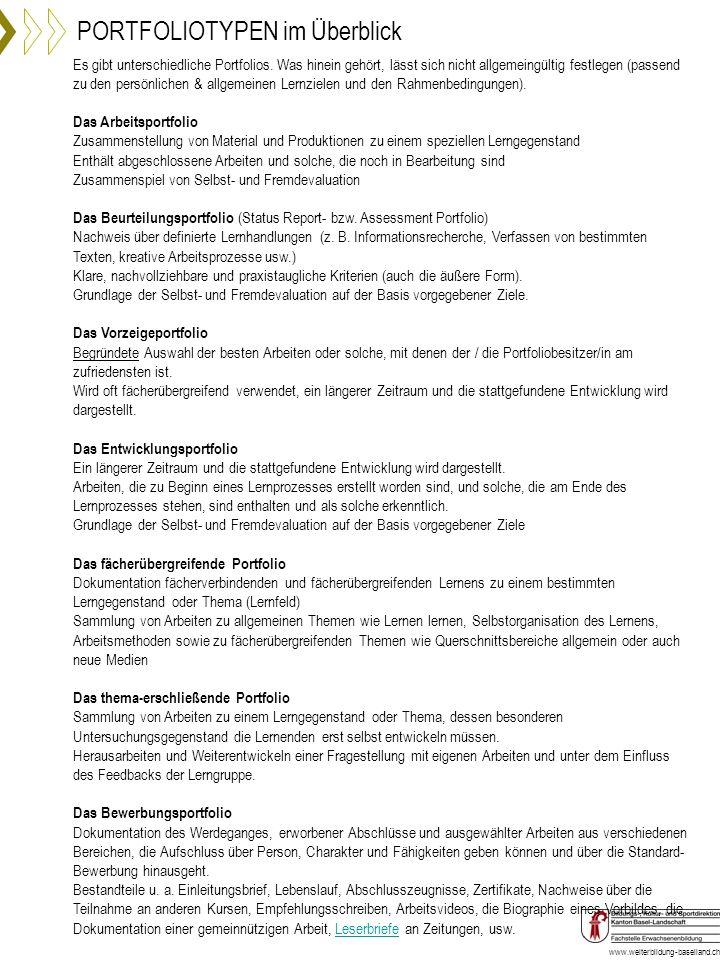 www.weiterbildung-baselland.ch Es gibt unterschiedliche Portfolios. Was hinein gehört, lässt sich nicht allgemeingültig festlegen (passend zu den pers