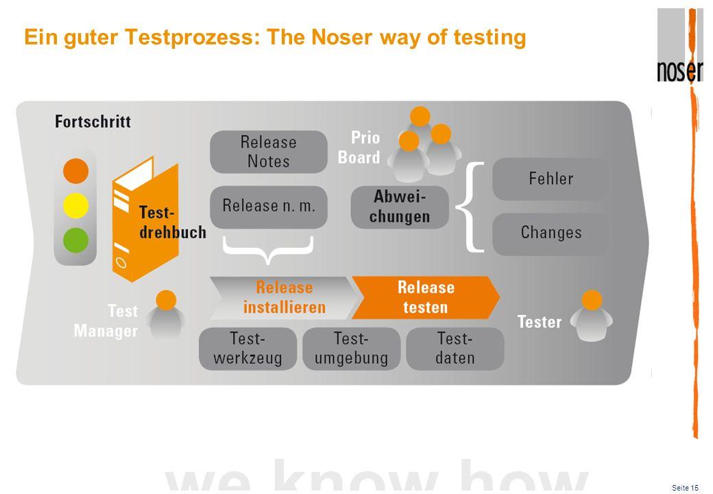 Seite 15 we know how Ein guter Testprozess: The Noser way of testing