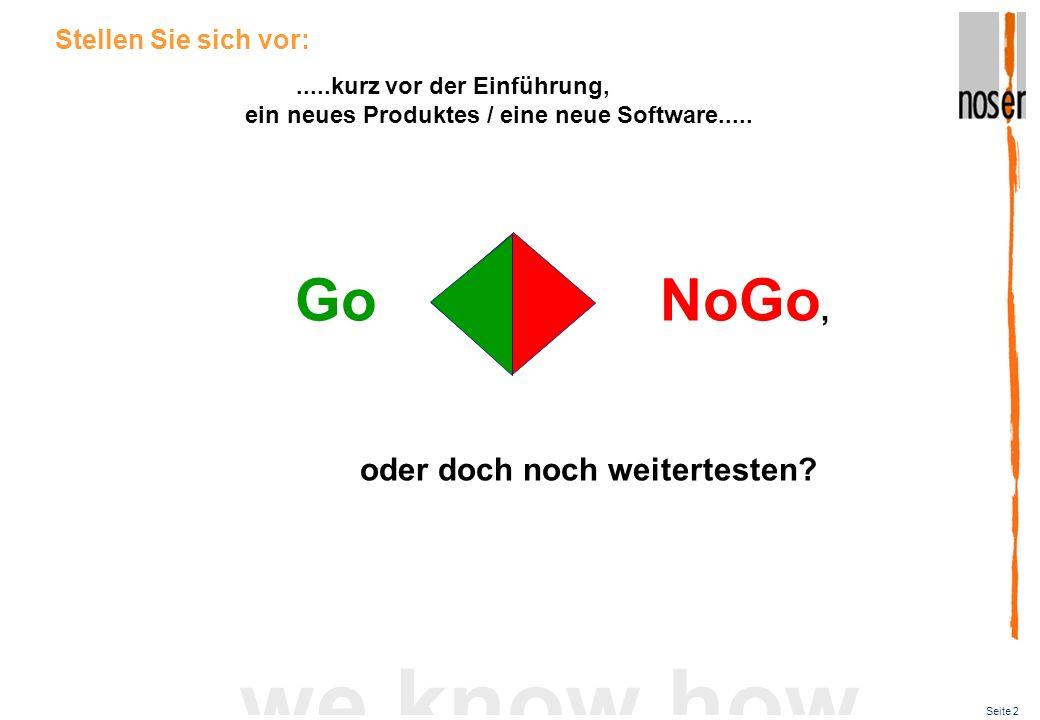 Seite 2 we know how.....kurz vor der Einführung, ein neues Produktes / eine neue Software..... Stellen Sie sich vor: Go NoGo, oder doch noch weitertes