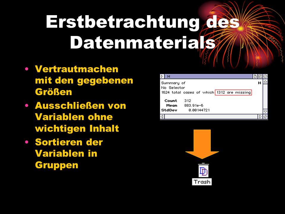 Erstbetrachtung des Datenmaterials Vertrautmachen mit den gegebenen Größen Ausschließen von Variablen ohne wichtigen Inhalt Sortieren der Variablen in