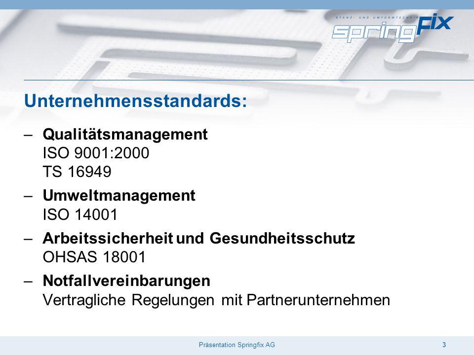 Präsentation Springfix AG3 Unternehmensstandards: –Qualitätsmanagement ISO 9001:2000 TS 16949 –Umweltmanagement ISO 14001 –Arbeitssicherheit und Gesundheitsschutz OHSAS 18001 –Notfallvereinbarungen Vertragliche Regelungen mit Partnerunternehmen