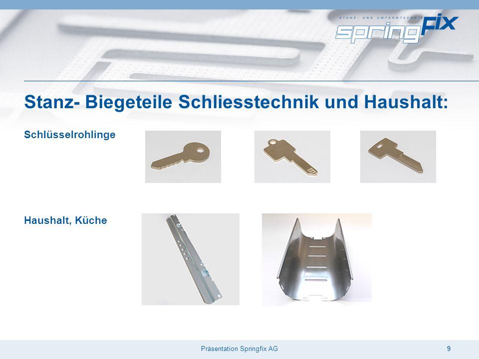 Präsentation Springfix AG9 Stanz- Biegeteile Schliesstechnik und Haushalt: Schlüsselrohlinge Haushalt, Küche