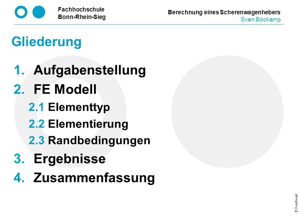 Fachhochschule Bonn-Rhein-Sieg 2 Overhead Gliederung Aufgabenstellung FE Modell 2.1 Elementtyp 2.2 Elementierung 2.3 Randbedingungen Ergebnisse Zusamm