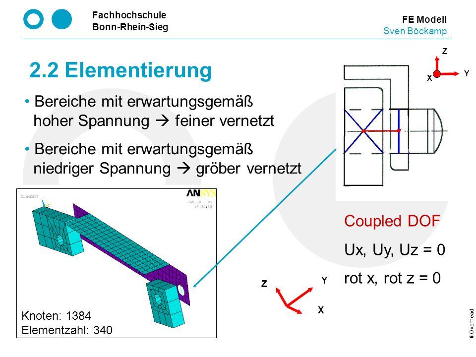 Fachhochschule Bonn-Rhein-Sieg 6 Overhead 2.2 Elementierung FE Modell Sven Böckamp Coupled DOF Ux, Uy, Uz = 0 rot x, rot z = 0 Y X Z Y Z X Knoten: 138