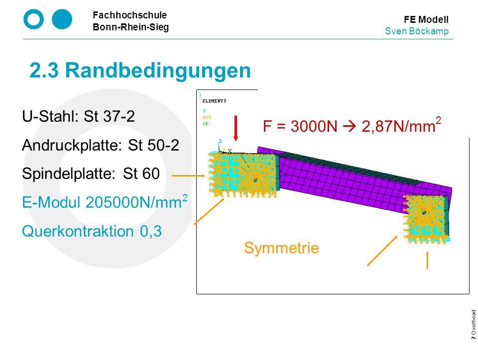 Fachhochschule Bonn-Rhein-Sieg 7 Overhead FE Modell Sven Böckamp 2.3 Randbedingungen F = 3000N 2,87N/mm 2 Symmetrie U-Stahl: St 37-2 Andruckplatte: St