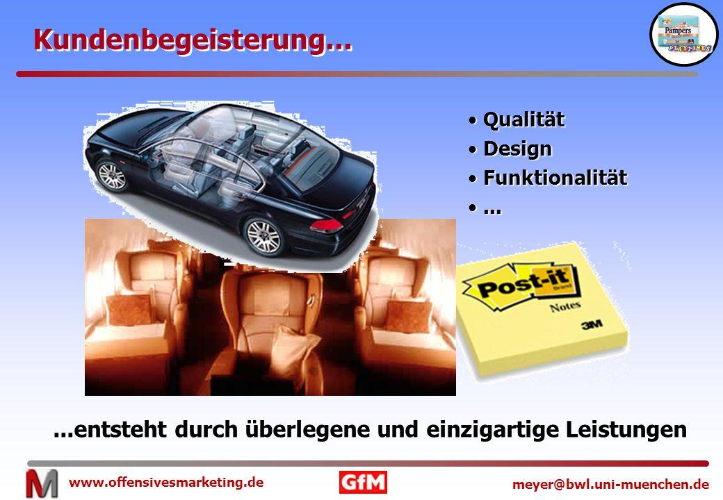 www.offensivesmarketing.de meyer@bwl.uni-muenchen.de Kundenbegeisterung......entsteht durch überlegene und einzigartige Leistungen Qualität Qualität D